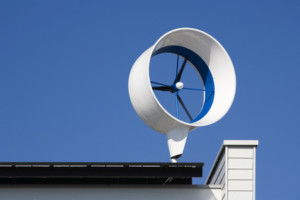 Residential wind turbine on a house in Almere, the Netherlands